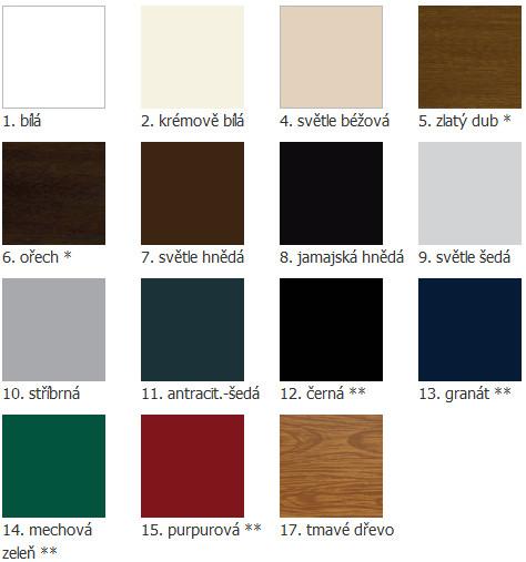 Intense – dílenská rolovací vrata – barvy
